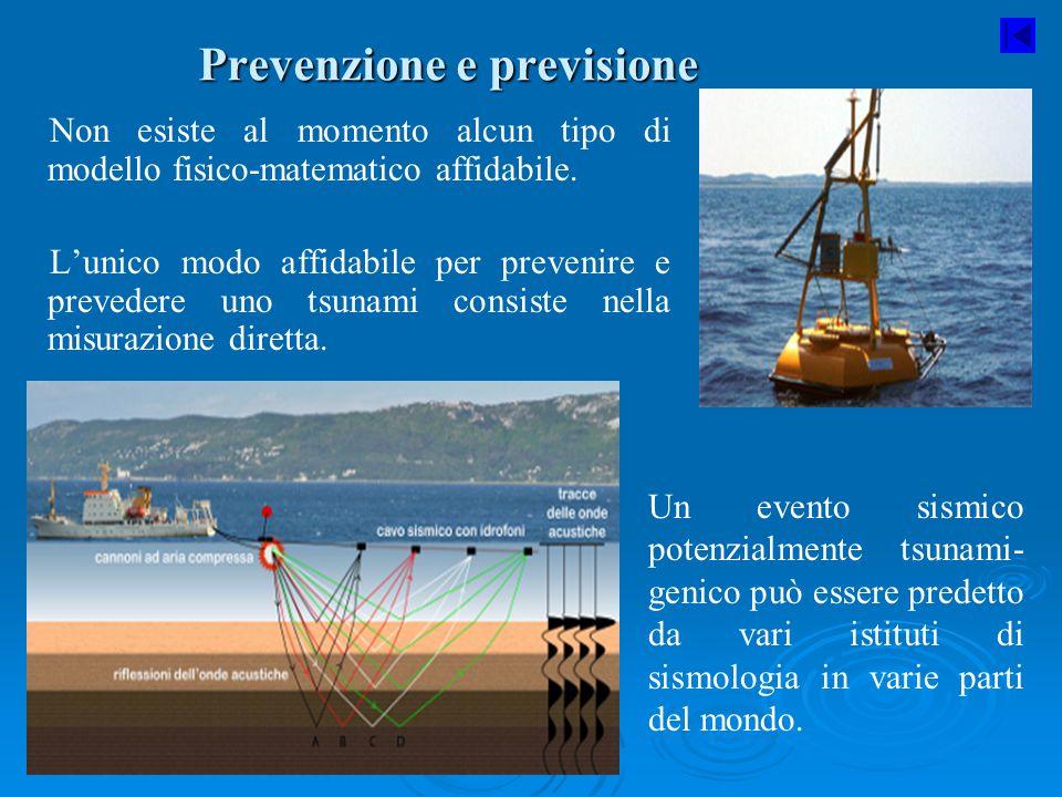 Prevenzione e previsione Non esiste al momento alcun tipo di modello fisico-matematico affidabile. L'unico modo affidabile per prevenire e prevedere u