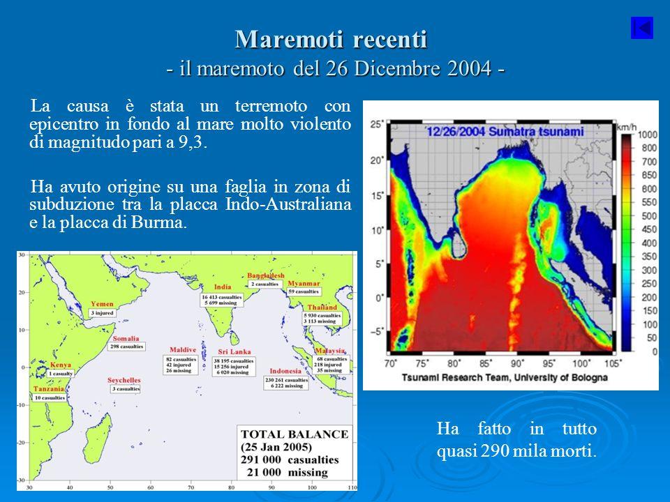 Maremoti recenti - il maremoto del 26 Dicembre 2004 - La causa è stata un terremoto con epicentro in fondo al mare molto violento di magnitudo pari a
