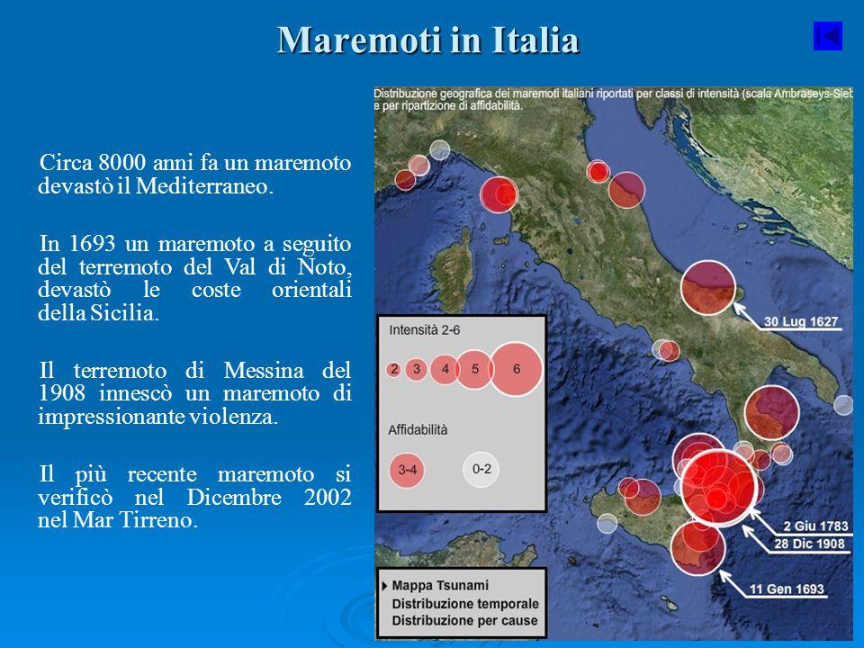 Maremoti in Italia Circa 8000 anni fa un maremoto devastò il Mediterraneo. In 1693 un maremoto a seguito del terremoto del Val di Noto, devastò le cos