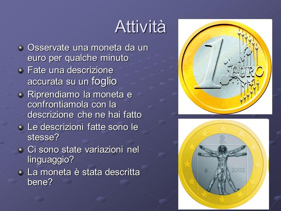 Attività Osservate una moneta da un euro per qualche minuto Fate una descrizione accurata su un foglio Riprendiamo la moneta e confrontiamola con la d