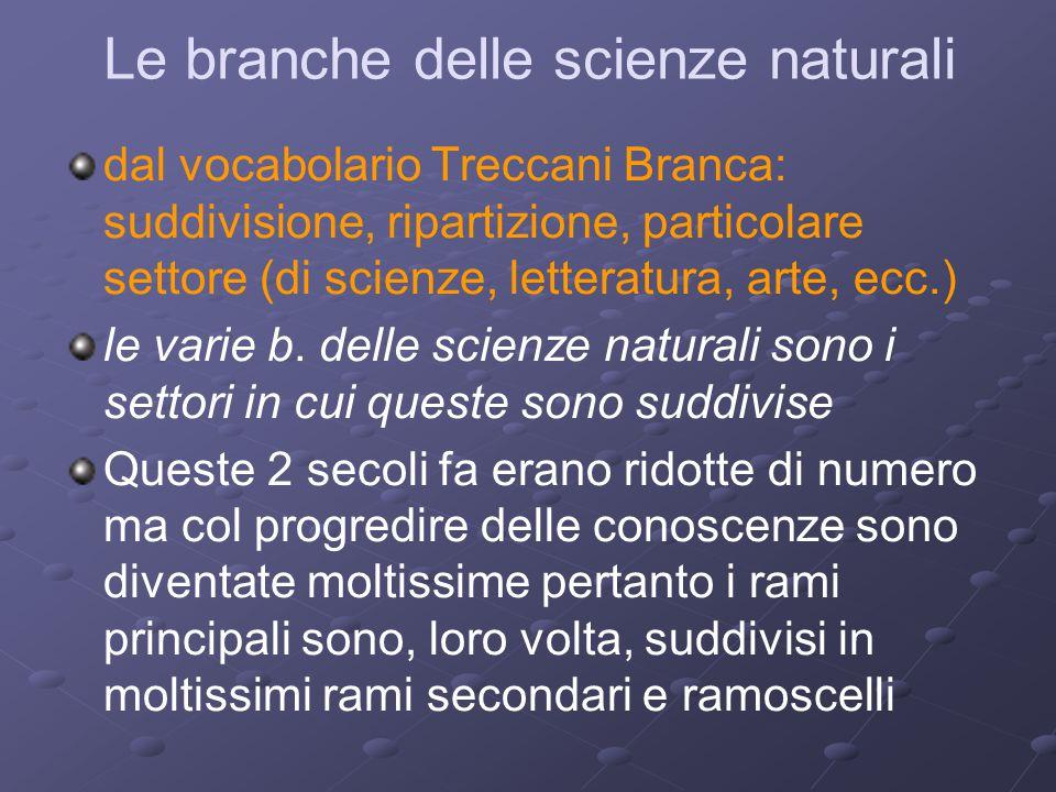 Le branche delle scienze naturali dal vocabolario Treccani Branca: suddivisione, ripartizione, particolare settore (di scienze, letteratura, arte, ecc