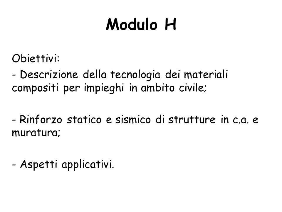 Obiettivi: - Descrizione della tecnologia dei materiali compositi per impieghi in ambito civile; - Rinforzo statico e sismico di strutture in c.a.