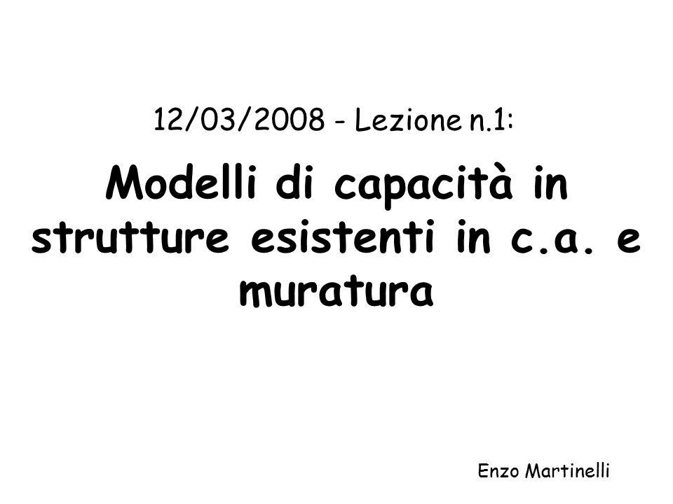 Modelli di capacità in strutture esistenti in c.a.
