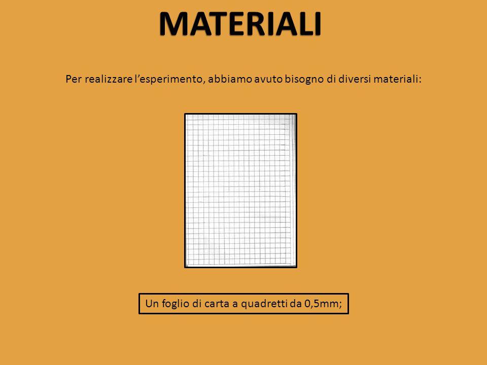 MATERIALI Per realizzare l'esperimento, abbiamo avuto bisogno di diversi materiali: Un foglio di carta a quadretti da 0,5mm;
