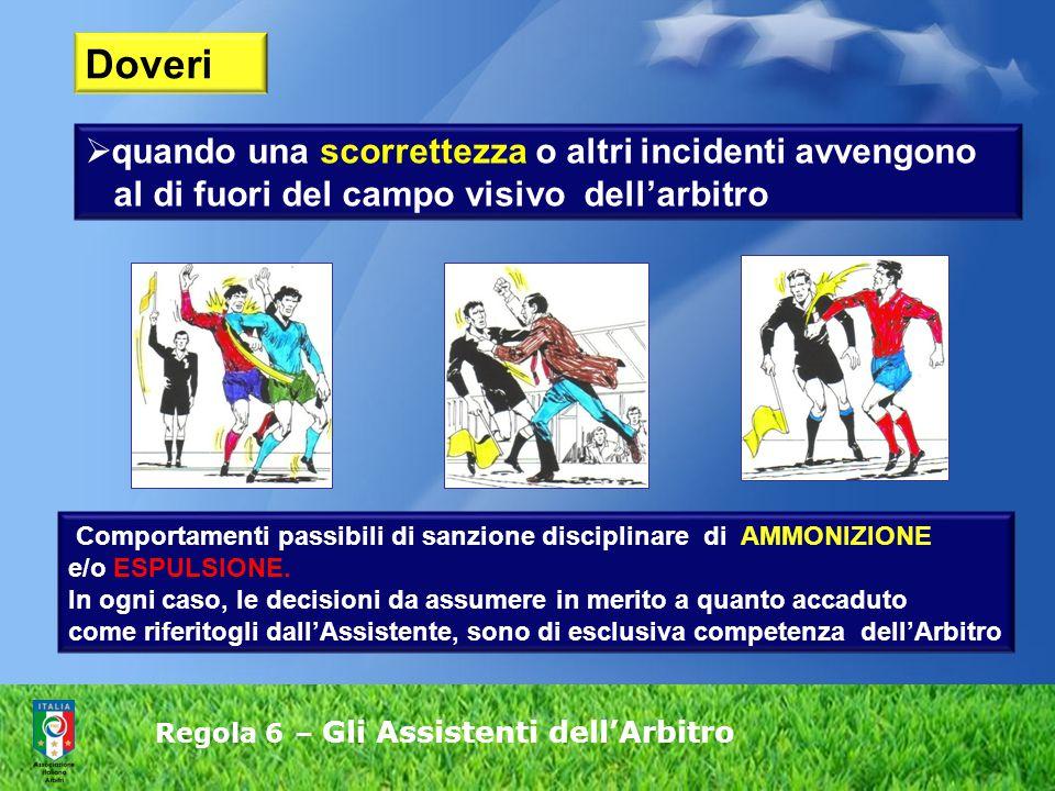 Regola 6 – Gli Assistenti dell'Arbitro Comportamenti passibili di sanzione disciplinare di AMMONIZIONE e/o ESPULSIONE.