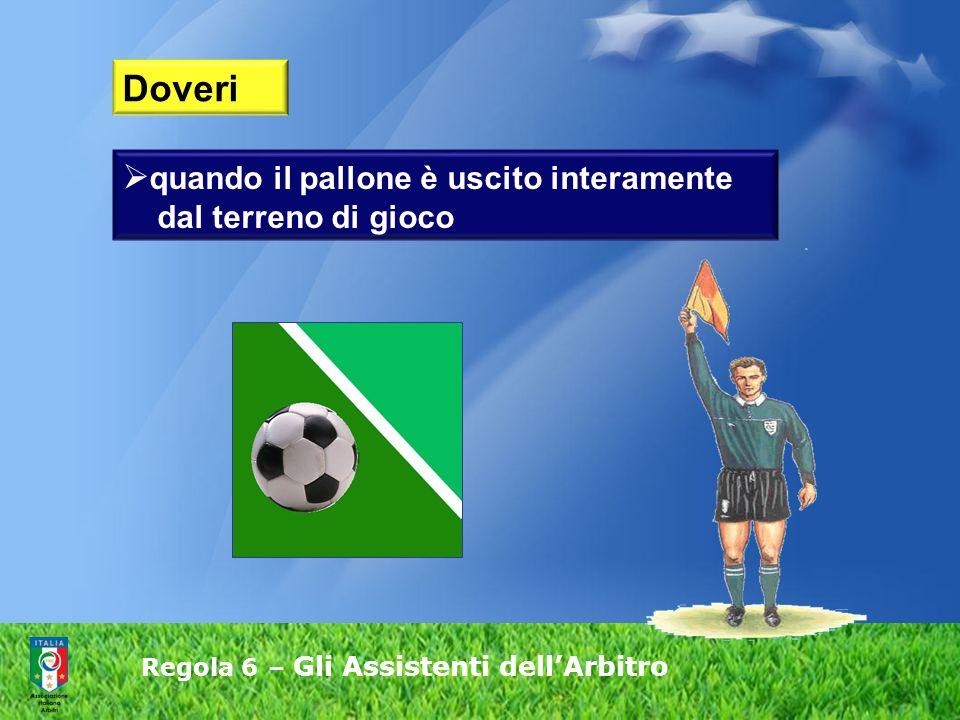 Regola 6 – Gli Assistenti dell'Arbitro  quando il pallone è uscito interamente dal terreno di gioco Doveri