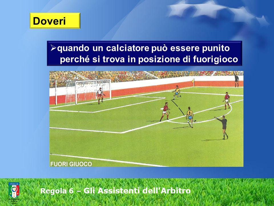 Regola 6 – Gli Assistenti dell'Arbitro  quando un calciatore può essere punito perché si trova in posizione di fuorigioco Doveri