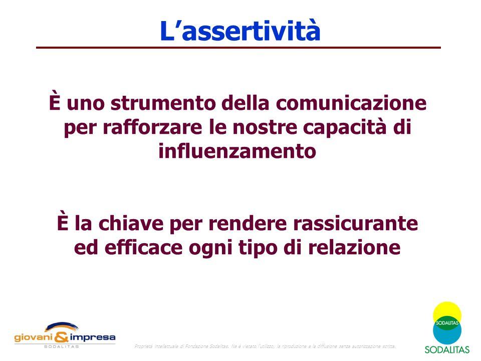 L'assertività È uno strumento della comunicazione per rafforzare le nostre capacità di influenzamento È la chiave per rendere rassicurante ed efficace