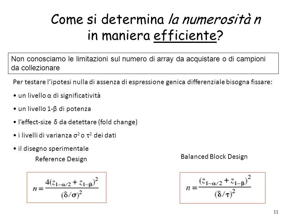 11 Come si determina la numerosità n in maniera efficiente? Per testare l'ipotesi nulla di assenza di espressione genica differenziale bisogna fissare