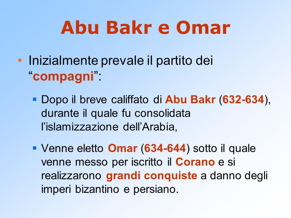 """Abu Bakr e Omar Inizialmente prevale il partito dei """"compagni"""":  Dopo il breve califfato di Abu Bakr (632-634), durante il quale fu consolidata l'isl"""