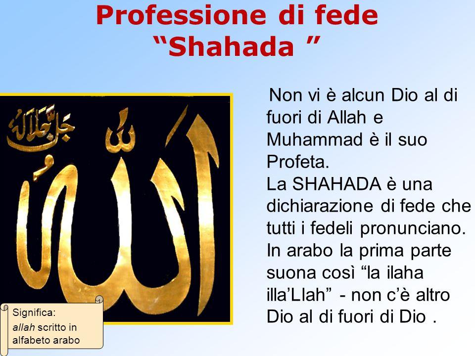 Professione di fede Shahada Non vi è alcun Dio al di fuori di Allah e Muhammad è il suo Profeta.
