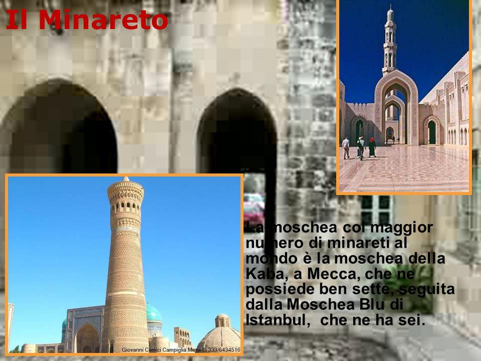 Il minareto, presente in quasi tutte le moschee, è la torre dalla quale il muezzin cinque volte al giorno chiama alla preghiera i devoti di Allāh e serve a far arrivare il più lontano possibile il segnale che scandisce la giornata liturgica.ovviare al caso di fedeli sordi o che si trovano in luoghi lontani dalla moschea ove non giunge la voce del muezzin.