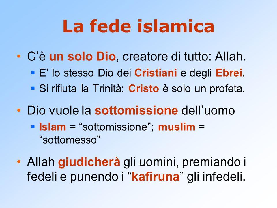 La fede islamica C'è un solo Dio, creatore di tutto: Allah.  E' Io stesso Dio dei Cristiani e degli Ebrei.  Si rifiuta la Trinità: Cristo è solo un
