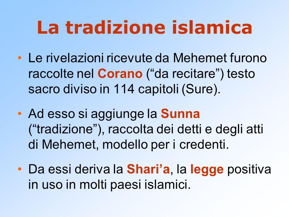 """La tradizione islamica Le rivelazioni ricevute da Mehemet furono raccolte nel Corano (""""da recitare"""") testo sacro diviso in 114 capitoli (Sure). Ad ess"""