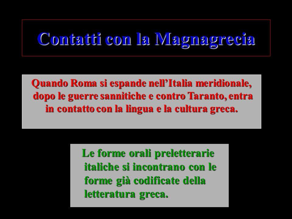 Contatti con la Magnagrecia Le forme orali preletterarie italiche si incontrano con le forme già codificate della letteratura greca. Le forme orali pr