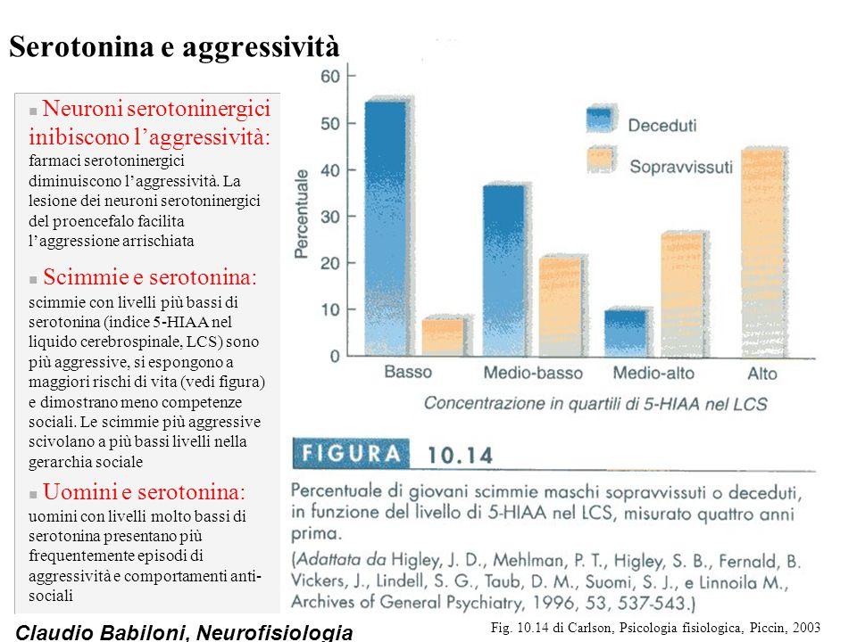 Claudio Babiloni, Neurofisiologia Serotonina e aggressività n Neuroni serotoninergici inibiscono l'aggressività: farmaci serotoninergici diminuiscono