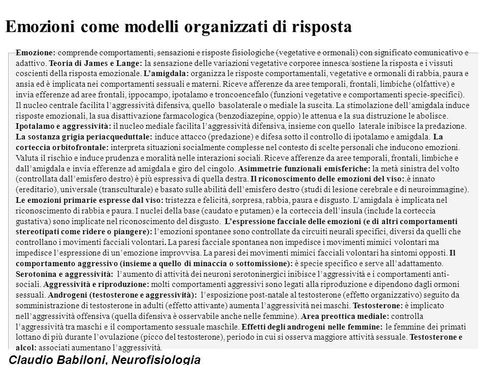 Claudio Babiloni, Neurofisiologia Emozioni come modelli organizzati di risposta Emozione: comprende comportamenti, sensazioni e risposte fisiologiche