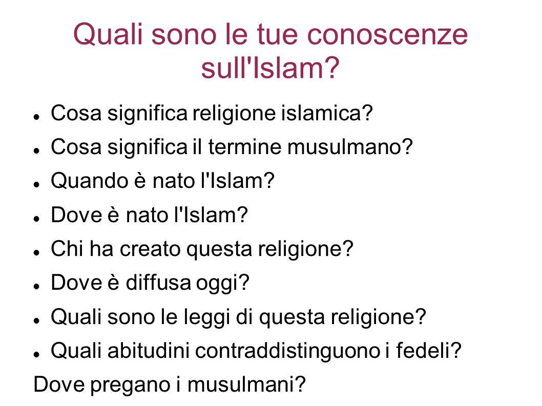 Quali sono le tue conoscenze sull Islam.Cosa significa religione islamica.