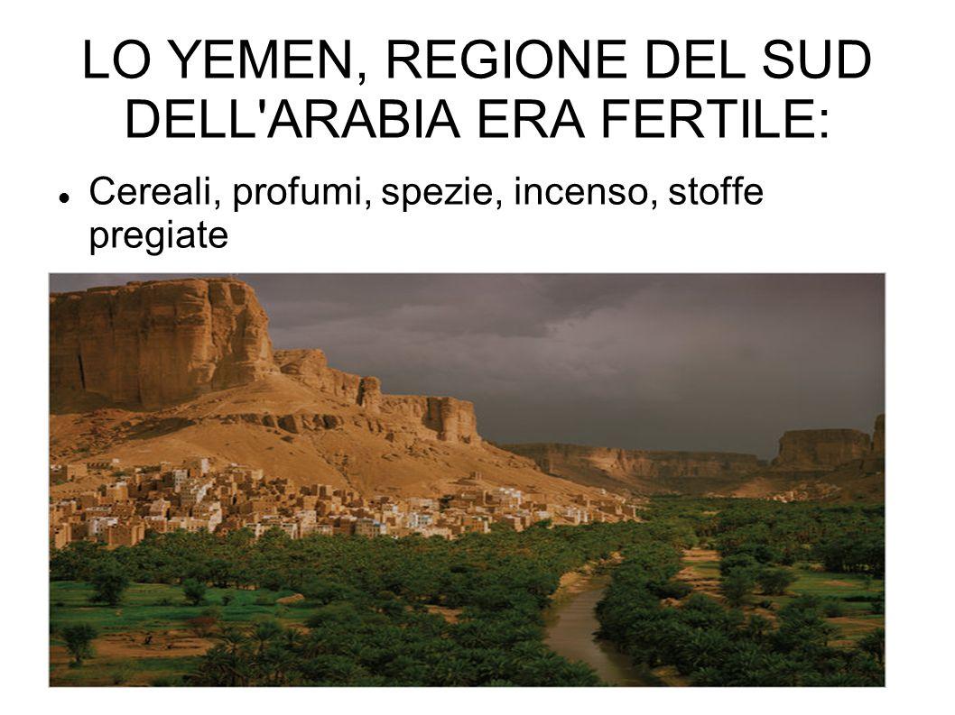 LO YEMEN, REGIONE DEL SUD DELL ARABIA ERA FERTILE: Cereali, profumi, spezie, incenso, stoffe pregiate