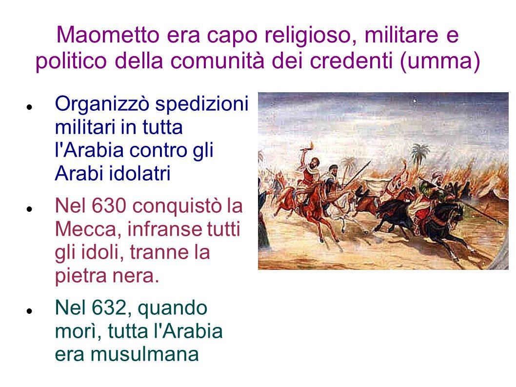 Maometto era capo religioso, militare e politico della comunità dei credenti (umma) Organizzò spedizioni militari in tutta l Arabia contro gli Arabi idolatri Nel 630 conquistò la Mecca, infranse tutti gli idoli, tranne la pietra nera.
