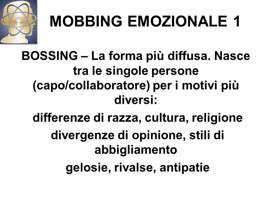 MOBBING EMOZIONALE 1 BOSSING – La forma più diffusa.