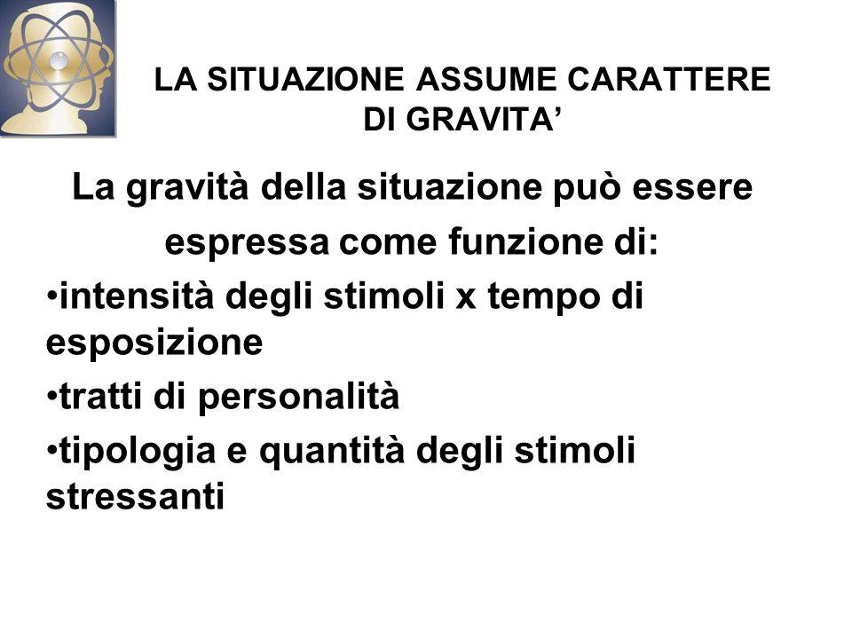 LA SITUAZIONE ASSUME CARATTERE DI GRAVITA' La gravità della situazione può essere espressa come funzione di: intensità degli stimoli x tempo di esposizione tratti di personalità tipologia e quantità degli stimoli stressanti