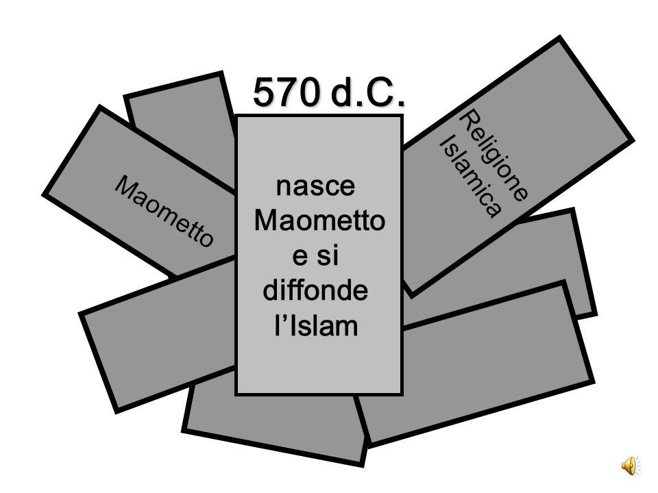570 d.C. Maometto Religione Islamica nasce Maometto e si diffonde l'Islam