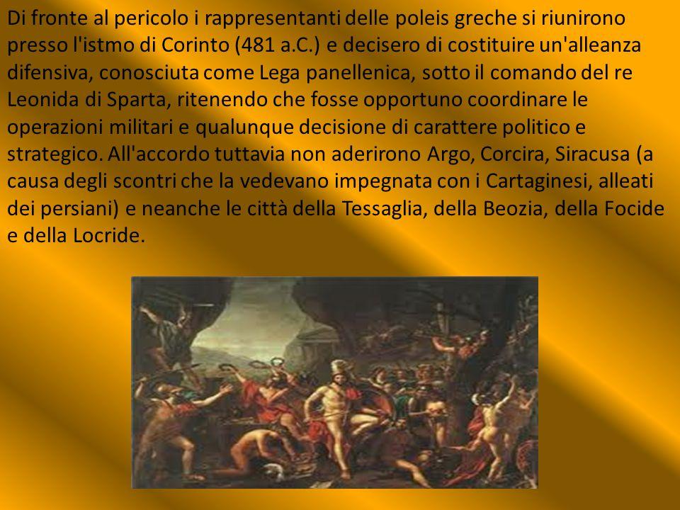 Di fronte al pericolo i rappresentanti delle poleis greche si riunirono presso l'istmo di Corinto (481 a.C.) e decisero di costituire un'alleanza dife