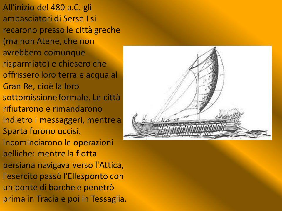 All'inizio del 480 a.C. gli ambasciatori di Serse I si recarono presso le città greche (ma non Atene, che non avrebbero comunque risparmiato) e chiese