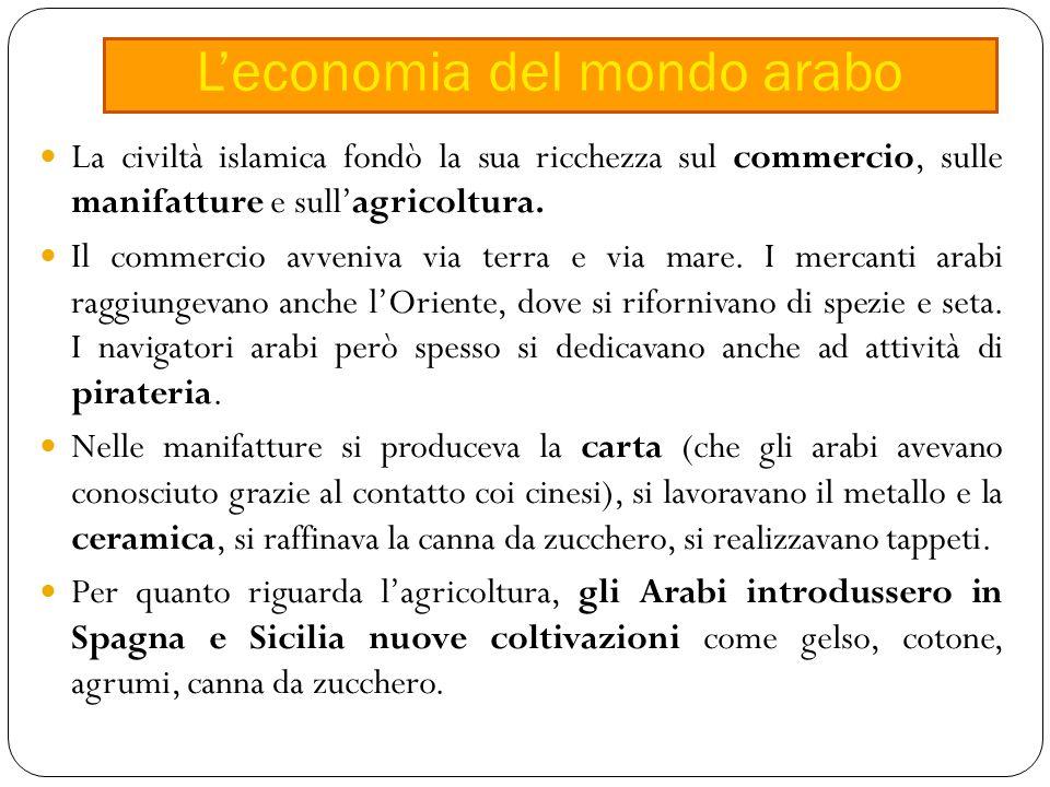 La civiltà islamica fondò la sua ricchezza sul commercio, sulle manifatture e sull'agricoltura.