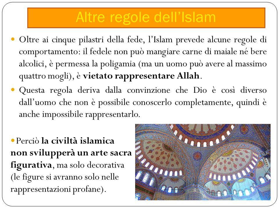 Oltre ai cinque pilastri della fede, l'Islam prevede alcune regole di comportamento: il fedele non può mangiare carne di maiale né bere alcolici, è permessa la poligamia (ma un uomo può avere al massimo quattro mogli), è vietato rappresentare Allah.