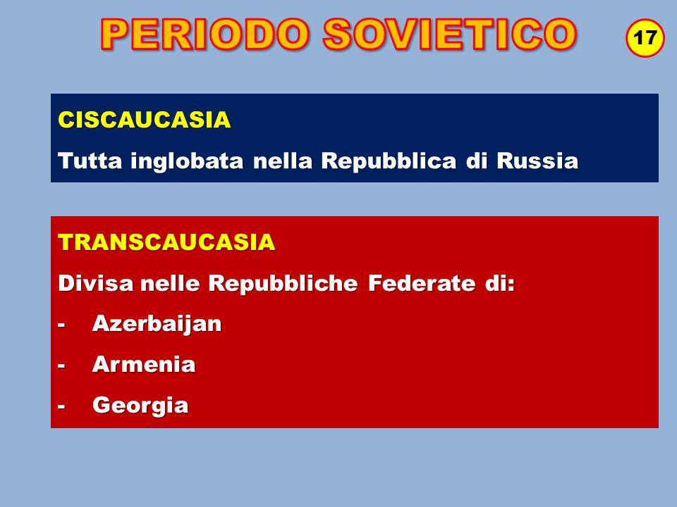 17 CISCAUCASIA Tutta inglobata nella Repubblica di Russia TRANSCAUCASIA Divisa nelle Repubbliche Federate di: - Azerbaijan - Armenia - Georgia