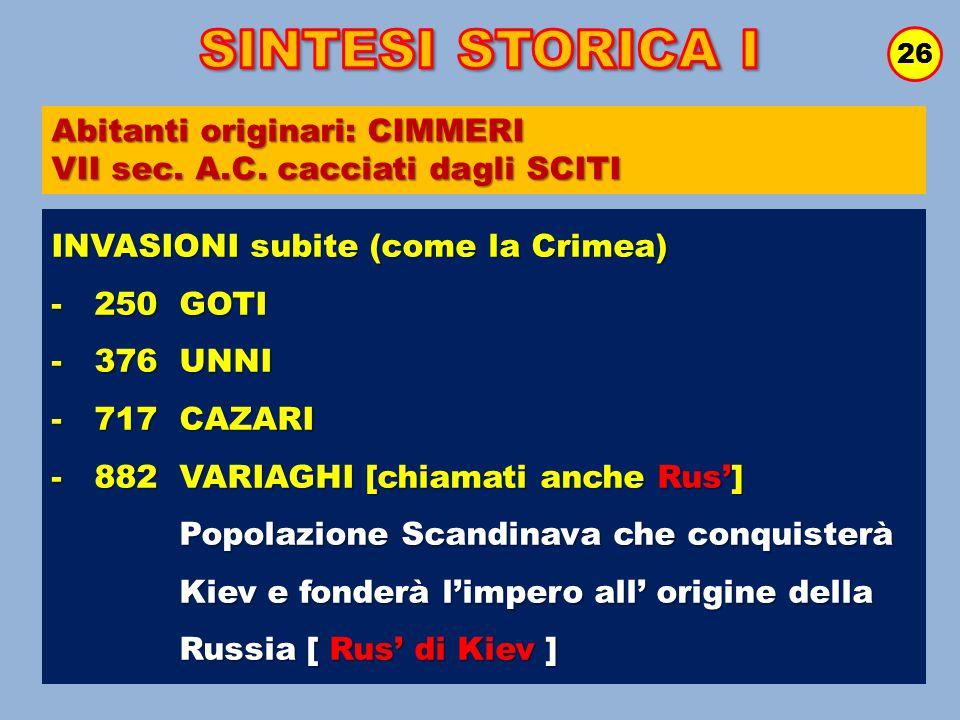 26 INVASIONI subite (come la Crimea) - 250 GOTI - 376 UNNI - 717 CAZARI - 882 VARIAGHI [chiamati anche Rus'] Popolazione Scandinava che conquisterà Po