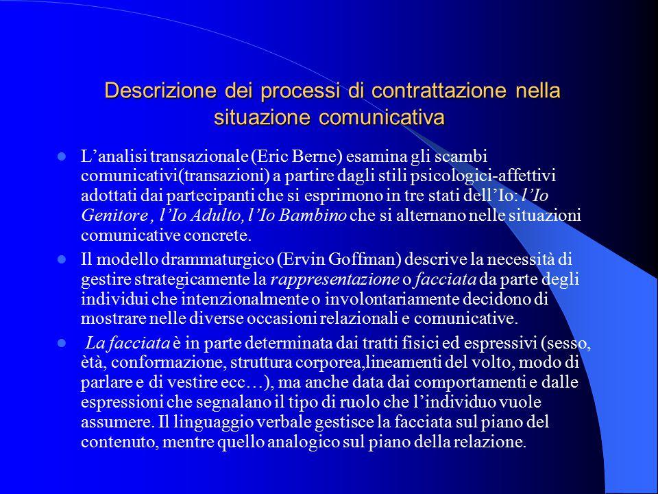 Descrizione dei processi di contrattazione nella situazione comunicativa Descrizione dei processi di contrattazione nella situazione comunicativa L'an