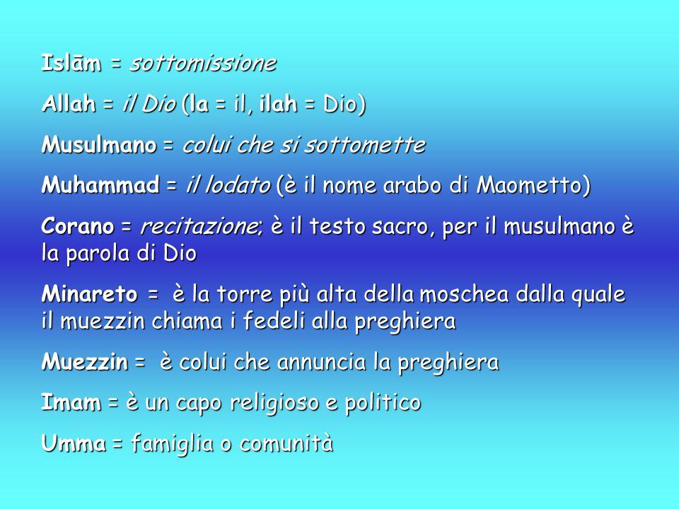 Islām = sottomissione Allah = il Dio (la = il, ilah = Dio) Musulmano = colui che si sottomette Muhammad = il lodato (è il nome arabo di Maometto) Corano = recitazione; è il testo sacro, per il musulmano è la parola di Dio Minareto = è la torre più alta della moschea dalla quale il muezzin chiama i fedeli alla preghiera Muezzin = è colui che annuncia la preghiera Imam = è un capo religioso e politico Umma = famiglia o comunità