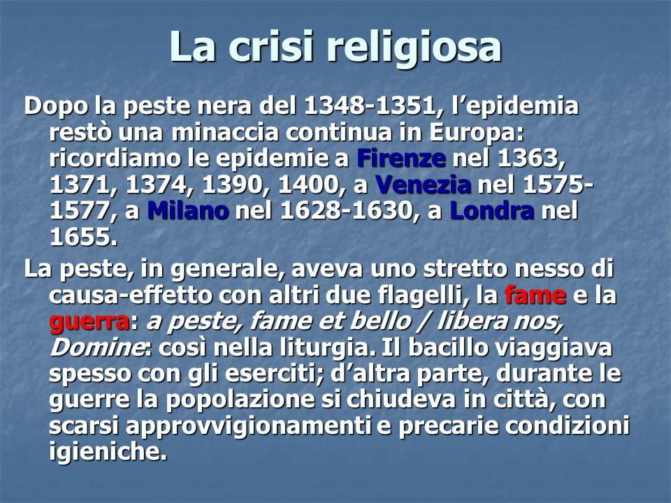 Dopo la peste nera del 1348-1351, l'epidemia restò una minaccia continua in Europa: ricordiamo le epidemie a Firenze nel 1363, 1371, 1374, 1390, 1400,