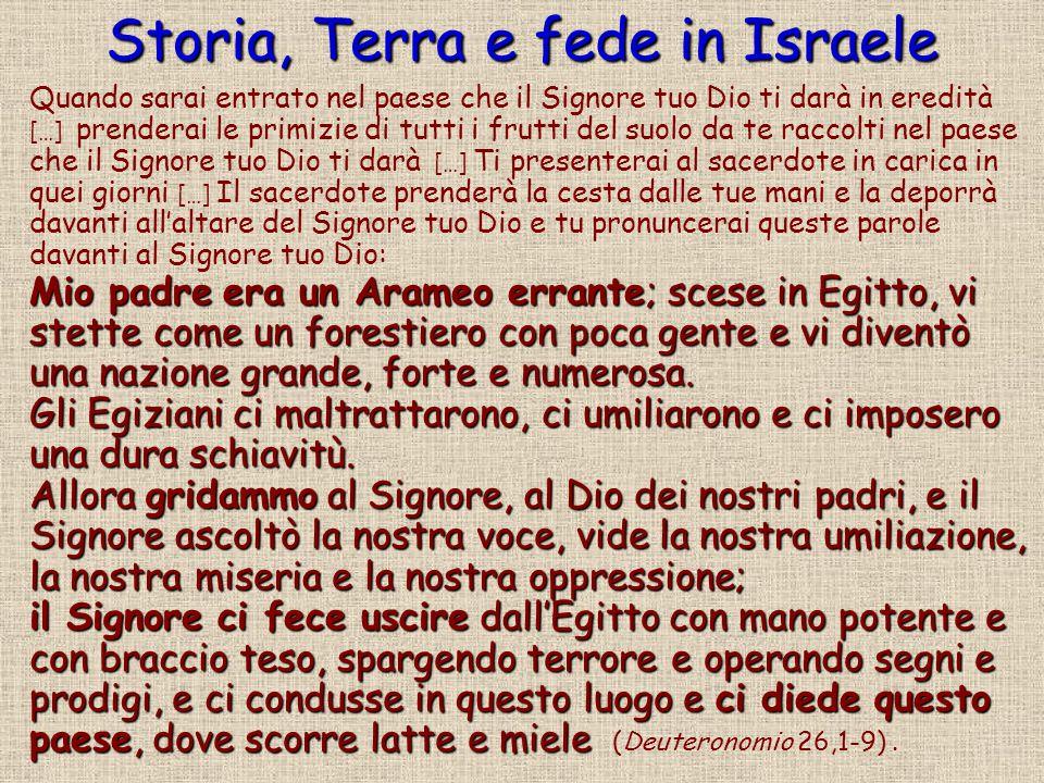 Storia, Terra e fede in Israele Quando sarai entrato nel paese che il Signore tuo Dio ti darà in eredità […] prenderai le primizie di tutti i frutti d