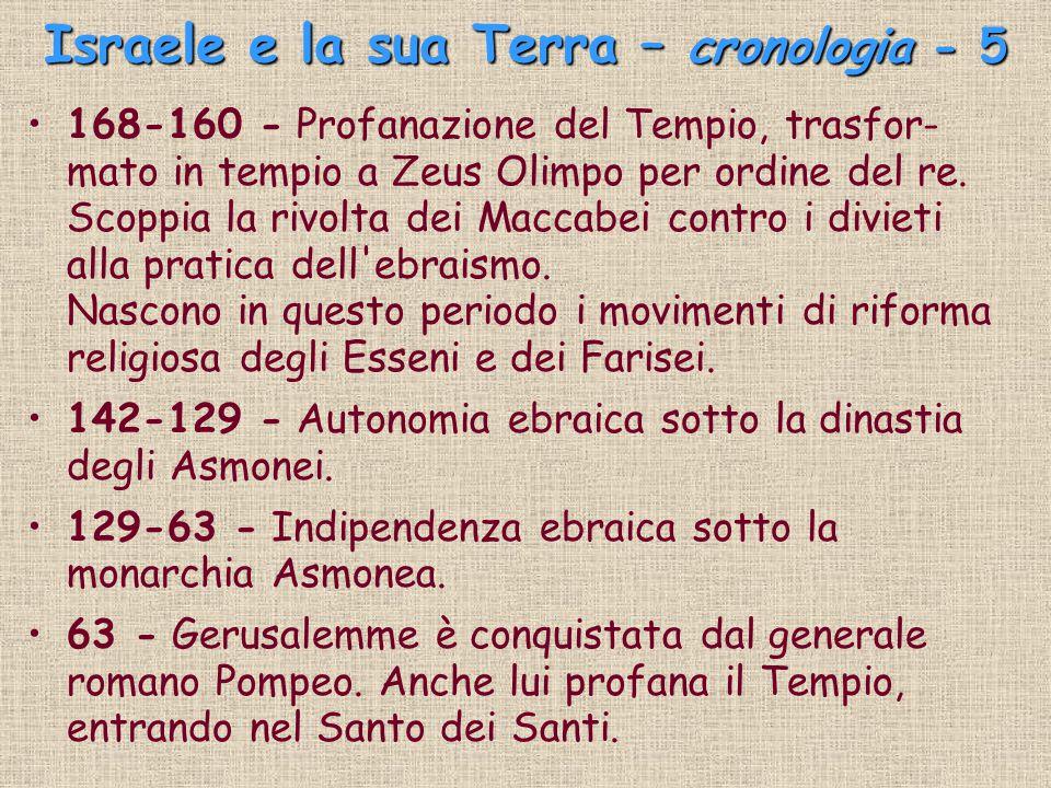Israele e la sua Terra – cronologia - 5 168-160 - Profanazione del Tempio, trasfor- mato in tempio a Zeus Olimpo per ordine del re. Scoppia la rivolta