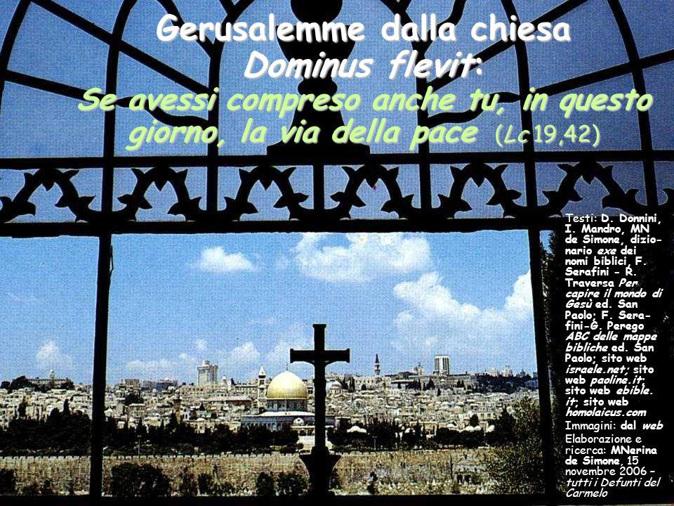 Gerusalemme dalla chiesa Dominus flevit: Se avessi compreso anche tu, in questo giorno, la via della pace (Lc 19,42) Testi: D. Donnini, I. Mandro, MN