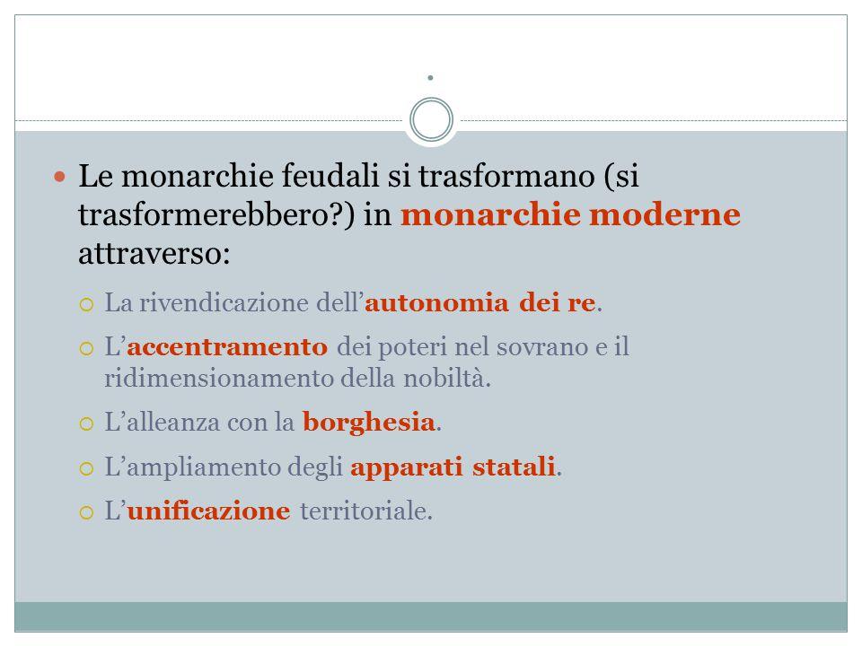 . Le monarchie feudali si trasformano (si trasformerebbero?) in monarchie moderne attraverso:  La rivendicazione dell'autonomia dei re.  L'accentram
