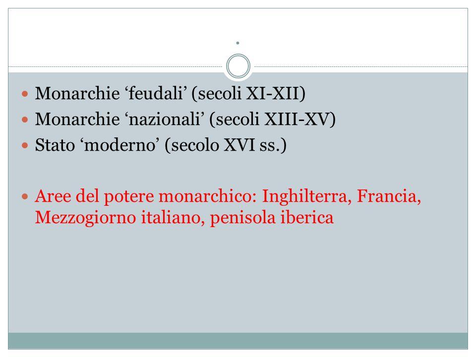 . Monarchie 'feudali' (secoli XI-XII) Monarchie 'nazionali' (secoli XIII-XV) Stato 'moderno' (secolo XVI ss.) Aree del potere monarchico: Inghilterra,