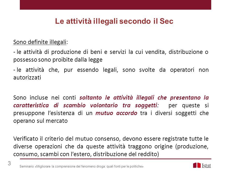 Sono definite illegali: - le attività di produzione di beni e servizi la cui vendita, distribuzione o possesso sono proibite dalla legge - le attività