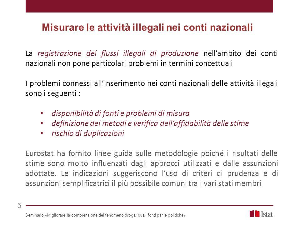 La registrazione dei flussi illegali di produzione nell'ambito dei conti nazionali non pone particolari problemi in termini concettuali I problemi con