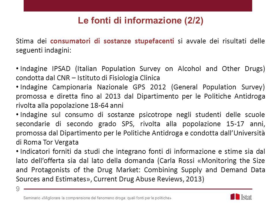 Stima dei consumatori di sostanze stupefacenti si avvale dei risultati delle seguenti indagini: Indagine IPSAD (Italian Population Survey on Alcohol a