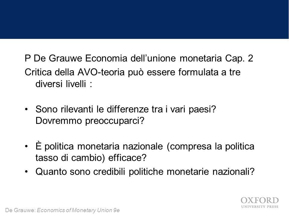 De Grauwe: Economics of Monetary Union 9e P De Grauwe Economia dell'unione monetaria Cap. 2 Critica della AVO-teoria può essere formulata a tre divers