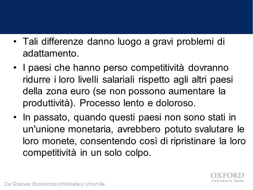 De Grauwe: Economics of Monetary Union 9e Tali differenze danno luogo a gravi problemi di adattamento. I paesi che hanno perso competitività dovranno
