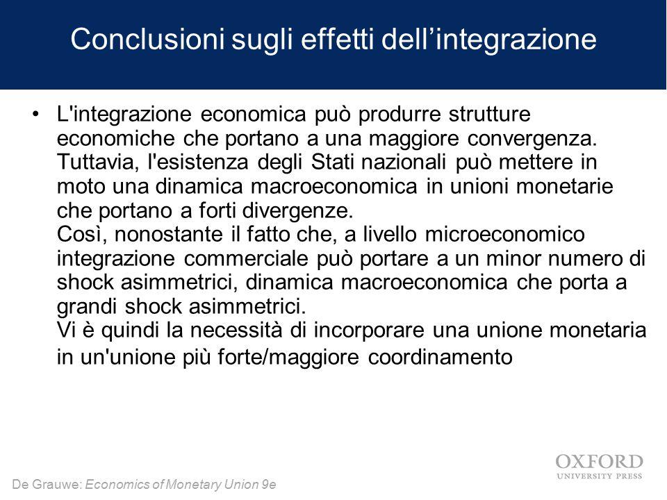 De Grauwe: Economics of Monetary Union 9e Conclusioni sugli effetti dell'integrazione L'integrazione economica può produrre strutture economiche che p