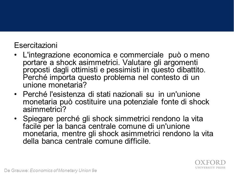 De Grauwe: Economics of Monetary Union 9e Esercitazioni L'integrazione economica e commerciale può o meno portare a shock asimmetrici. Valutare gli ar
