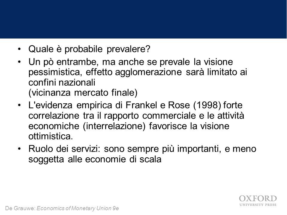 De Grauwe: Economics of Monetary Union 9e Quale è probabile prevalere? Un pò entrambe, ma anche se prevale la visione pessimistica, effetto agglomeraz