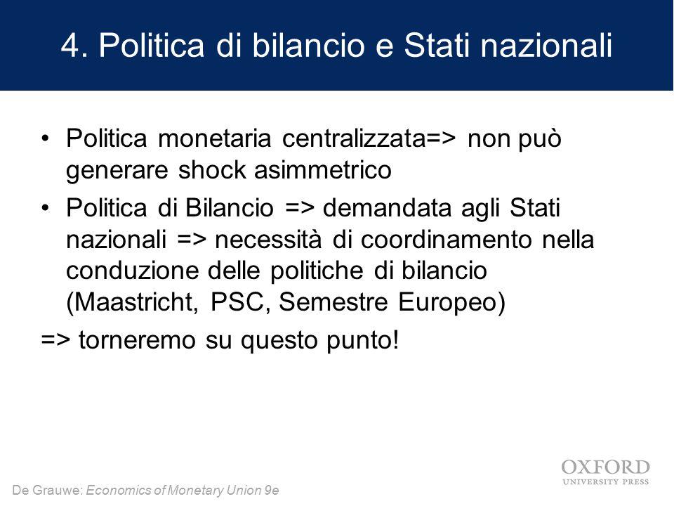 De Grauwe: Economics of Monetary Union 9e 4. Politica di bilancio e Stati nazionali Politica monetaria centralizzata=> non può generare shock asimmetr